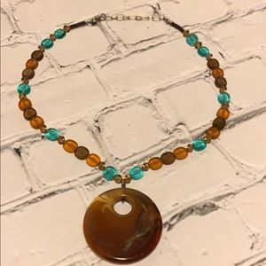 Chico's Brown Circle Beaded Necklace